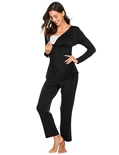 Maxmoda pigiama due pezzi premaman donna pigiami allattamento scollo a u vestaglia ragazza manica lunga con pantaloni nero
