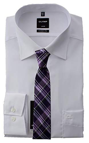 OLYMP Herrenhemd, Weiß Modern Fit mit passender Krawatte, Bügelfrei (46) -