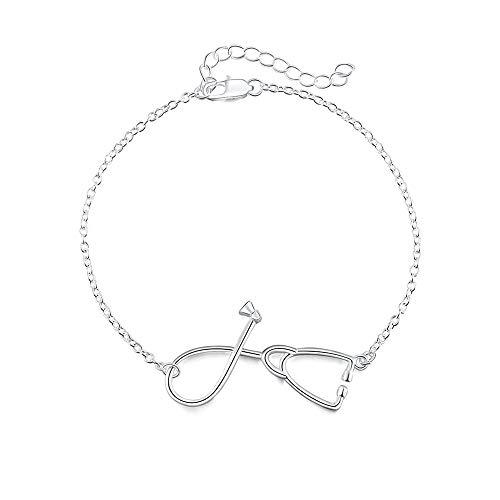 iiuahsil Armband Silber Armband Doktor Stethoskop Frau Kette Hochzeit Dame Armband Schmuck
