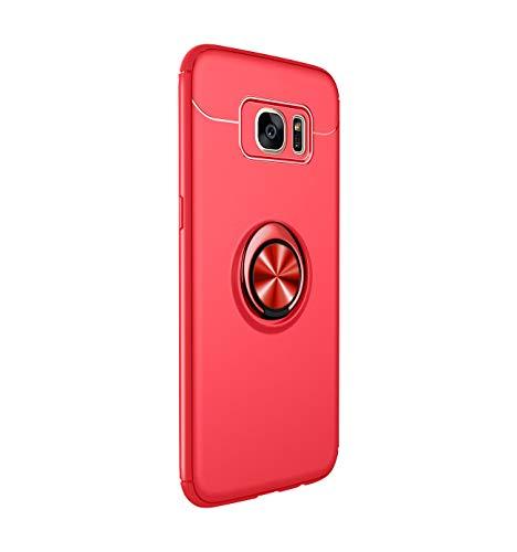 18eay Kompatibel mit Samsung S7 Hülle, Metall Ring Grip Halter Ständer Soft TPU Schutzhülle mit Unterstützung Magnetische Auto Mount Funktion für Galaxy S7 Edge (Rot, Samsung S7 Edge)