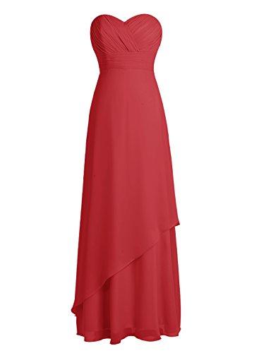 Bbonlinedress Robe de cérémonie Robe de demoiselle d'honneur en mousseline longueur ras du sol Rouge Foncé