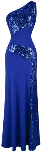 Angel-fashions Women's One Shoulder Sleeveless Splicing Sequins Full Length Party Dress Small Blue