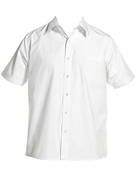 Kurzärmeliges Hemd für Jungen mit breitem Kragen, 27,9–44,5cm, Weiß/Blau