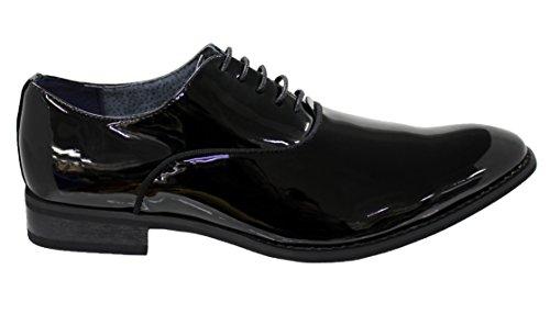 Eleganti scarpe uomo nero lucido vernice calzature cerimonia man's shoes (43)