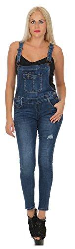 Fashion4Young Damen Latz Jeans Jeanslatzhose Röhrenhose m. Trägern Latz Hose Overall (XL/42, 11383-blau)