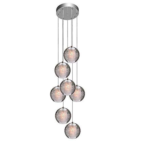 SS Pendelleuchte LED Moderne Pendellampe Kristall Hängeleuchte Höheverstellbar Kronleuchter geeignet für Wohzimmer Esstisch, Treppe, Schlafzimmer Deckenleuchte Hängelampe [Energieklasse A+] (7 Lights)