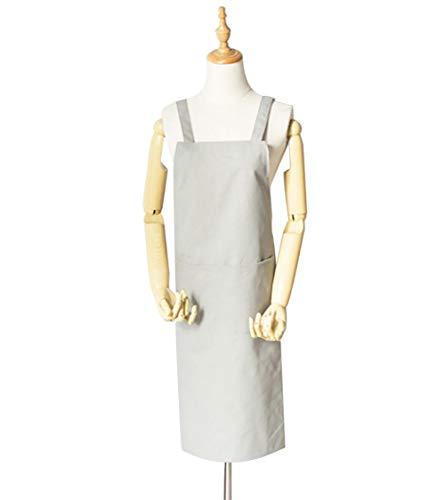 H·Aimee Premium Kochschürze Küchenschürze 100{268bdb9aca3b51166248f5f1814ed4a20f47689c9ecd95524c0334e104046334} Baumwolle belastbareinfach zu reinigen perfekt auch als Grillschürze - Grau 34x77cm