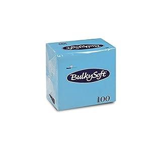Bulky Soft BS-32289 Servietten 1/4 Falz, 2-lagig, 24 cm x 24 cm, Hellblau (100-er Pack)