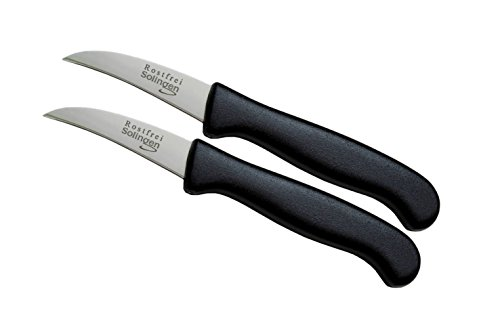 Solingen 2er Messer-Set gebogen/Gemüsemesser scharf Küchenmesser Schälmesser...