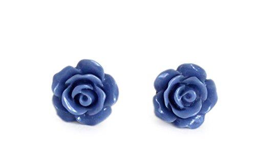 Miss Lovie Damen Ohrstecker Vintage Blumen Harz Ohrringe Cabochon 10mm Modeschmuck Blau Bronze (Cabochons Blumen)