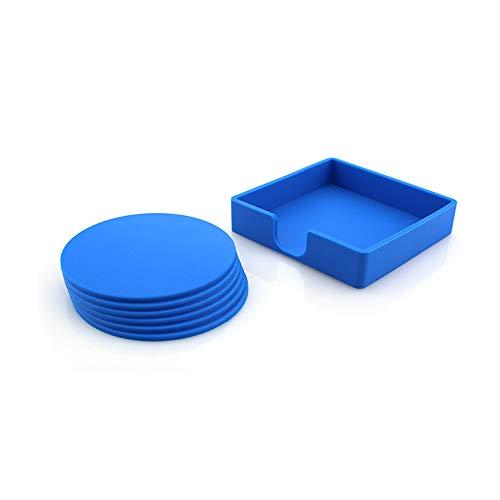 ZCHPDD EIN Satz Von Sechs Untersetzern Wasserdicht Und Anti-Burning Coasters Blue Glass Coaster 9,8 cm * 9,8 cm * 0,3 cm * 4 Stück