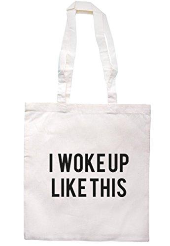 breadandbutterthreads mi sono svegliato come questa borsa 37,5cm x 42cm con manici lunghi Natural