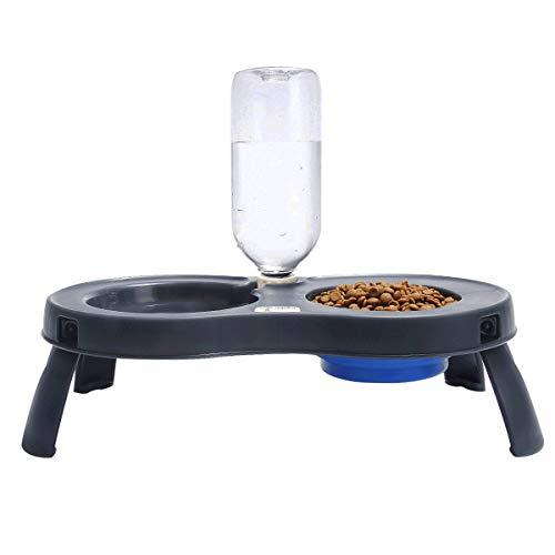 Teammao Portable Hundenapf Katzenapf Faltende Silikonschüssel im Freien Wassernapf Haustierschalen Rutschfesten Kunststoff tablett Matte Food Water Bowl für Hamster und Kleine Haustiere (Blau) -