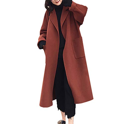 VEMOW Herbst Winter Elegante Damen Cashmere-Like Dicker Jacke Outwear Parka Cardigan Casual Täglichen Business Schlank Mantel(X2-a-Braun, 40 DE/XL CN)