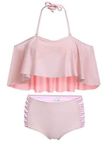 Damen Neckholder Sexy Halter Rüschen solide hohe Taille Bikini-Set Pagacat Zweiteilig Badeanzug Bademode