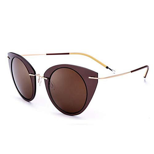 Yiph-Sunglass Sonnenbrillen Mode Katzenaugen Design Frauen polarisierte Sonnenbrille Nylon Rahmen tac objektiv uv-Schutz Sonnenbrille für Fahren Urlaub Strand Sonnenbrille im freien (Farbe : Kaffee)