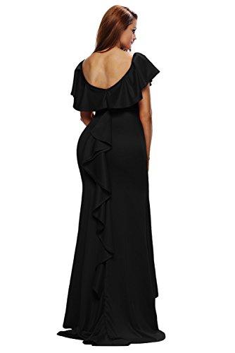 Cfanny Femmes Elegant Magnifique ÉbourifféÉpaule Tombante Dos-nu Robe De Soirée Robe Noir