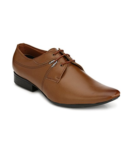 Real Blue Men's Tan Lace Up Formal Shoes Size:- 8