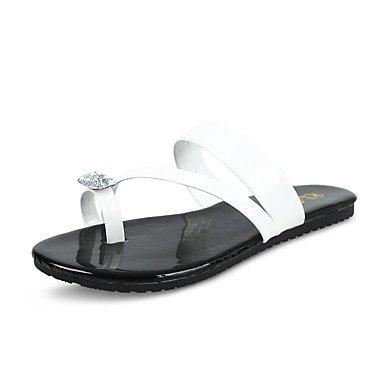 LQXZM Sandales femmes microfibre synthétique confort d'été PU confort décontracté Talon plat Noir Blanc Gris Télévision White