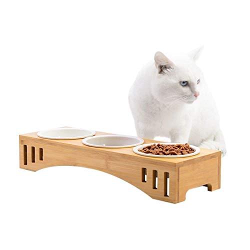 Hause, Eleganz, Essen (Hundenapf Hundenäpfe Katzennäpfe Hoch Futternäpfe Für Katzen Und Welpe Mit Bambus... (Farbe : 3 Näpfe))