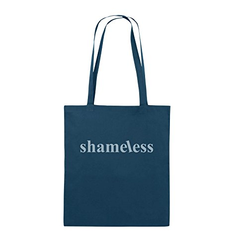 Comedy Bags - shameless - LOGO - Jutebeutel - lange Henkel - 38x42cm - Farbe: Schwarz / Pink Navy / Eisblau