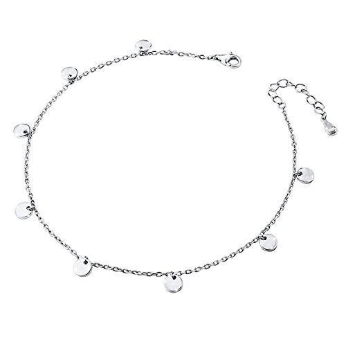 DAOCHONG Damen Fußkettchen 925er Sterling Silber Verstellbare Fußkettchen Beach Style Fuß Armband,10+1 Zoll