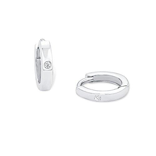 Amor Damen-Creolen 925 Silber rhodiniert Zirkonia weiß 1 cm - 86981