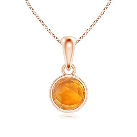 Bezel Set Citrine Solitaire Dangle Pendant in 14K Rose Gold