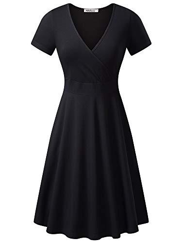 Baumwolle V-neck Wrap (MSBASIC Women's Deep V Neck Short Sleeve Unique Cross Wrap Casual Flared Midi Dress 8003-1 Large)