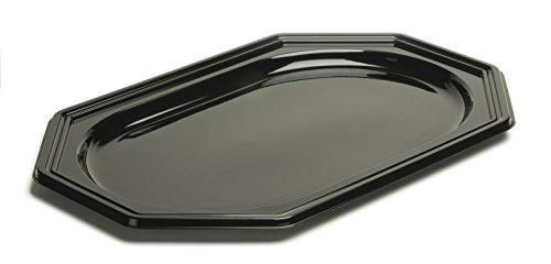 Silverkitchen 10 Stück Einweg Servierplatte aus Plastik für Buffet Promotion Catering Verkostung u.v.m. | Robustes Einweggeschirr in Hochwertiger Qualität | schwarz 8-eckig 27 x 19 cm