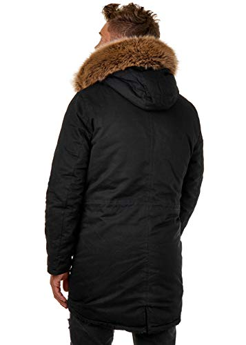 EightyFive Herren Winter-Parka Winterjacke Kunstfell Kapuze Gefüttert Teddyfell Schwarz Khaki Beige Camouflage EF1720, Farbe:Schwarz, Größe:XS - 4