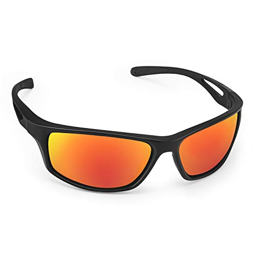 CHEREEKI Sport Sunglasses, Polarized Sports Sunglasses with UV400 Protection & TR90 Unbreakable Frame, for Fishing Driving Golf Running Cycling Camping (Rot)