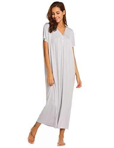 ADOME Damen Lang Nachthemd Kurze Ärmel/Lange Ärmel Nachtkleid Still Sleepshirt Sleepwear Knopfleisten,S,M,L,XL,XXL (ärmel Lange Damen Nachthemden,)