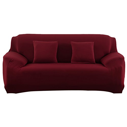 Slipcover Stretchable Pure Color Sofa Cushion Cover (Loveseat Wine Red)