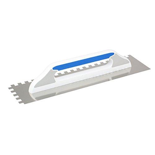 DEWEPRO® Schweizer Glättekelle - Aufziehplatte - Aufziehglätte - Traufel - Edelstahl 480x130mm - gezahnt: 10x10mm - Modell III