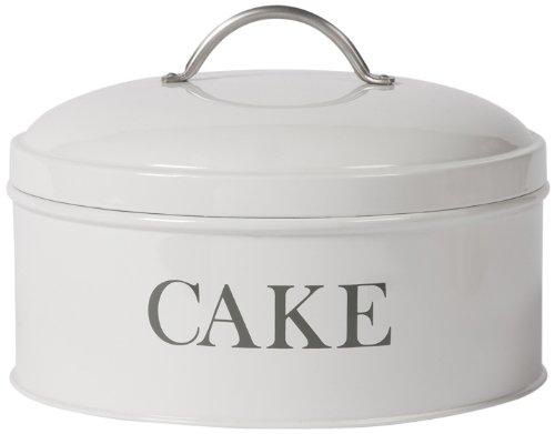 Garden Trading Boîte à gâteau en étain Modèle rond Blanc craie