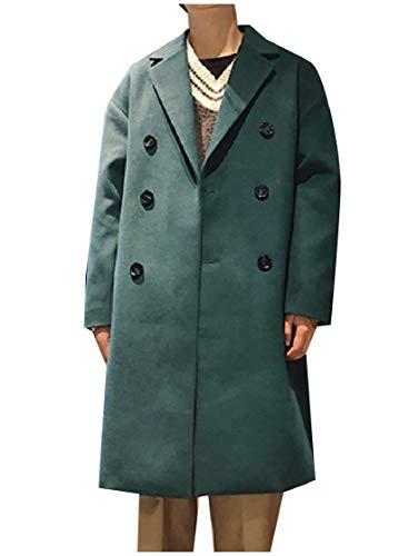 CuteRose Mens Woolen Lapel Double Breasted Jacket Trenchcoat Parka Outwear Green M (Double Breasted Pea Coat Dress)