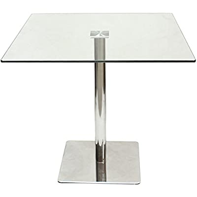 Hartleys Large 80cm Square Glass Top Dining/Bistro Table - low-cost UK dining table shop.