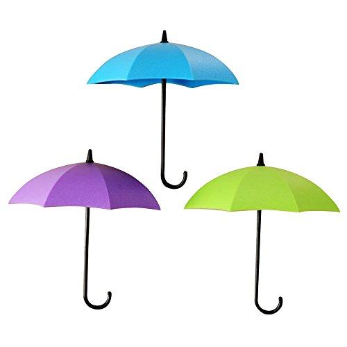 Contever® 3 Stück Regenschirm Form Selbstklebend Haken Wandhaken für das Badezimmer Home Küche Schlüssel #1