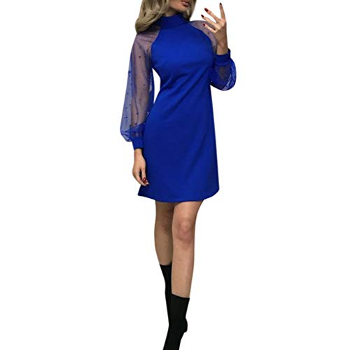 YWLINK Damen Mesh Perlen Patchwork Elegant Off Schulter Kleid Stehkragen Lange ÄRmel A-Line Mini Party Nachtclub Volltonfarbe Kleid(Blau,L) -