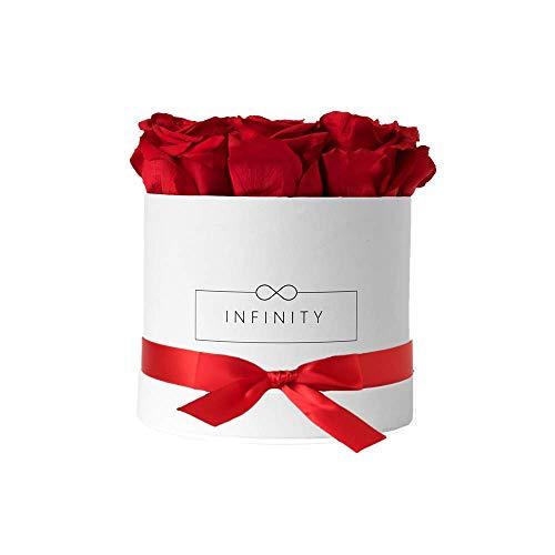 Infinity Flowerbox Medium (Weiß) - 9 echte Premiumrosen in Vibrant Red