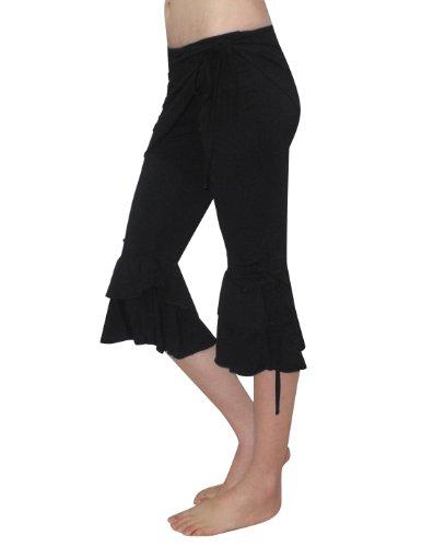 3 PCS SET: Womens Exotic Belly Dance Cropped Top, Hip Scarf & Pant Set Black