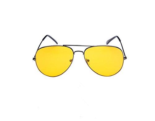Qingsun Männer und Frauen Nachtsicht Brille Sonnenbrille Auto Brille Nachtsichtbrille (Gelb)