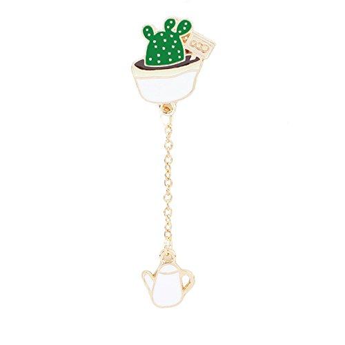 Adisaer Damen Emaille Pins Brosche Topfpflanzen mit Kette Thermometer Broschen Grün Mädchen 1 Stück Cartoon (Großhandel Fitch Abercrombie)
