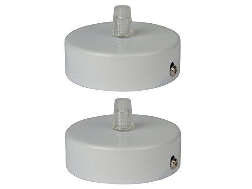 Monture pour suspension en acier inoxydable blanc, 80x25 mm, avec décharge de traction transparente (kit rosace plafond / plafon electrique) (nombre: 2 pièces)