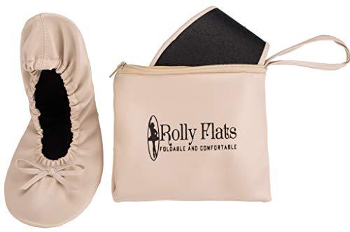 Rolly Flats - Bailarinas Plegables con Bolsa de Transporte para Mujer [RU 7-8 (Grande), Nude]