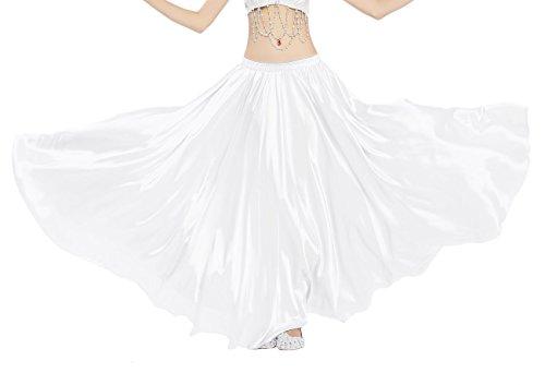 Dance Fairy Weiß bauchtanz Satinrock Frau langen (Für Kostüme Tanz Coole)
