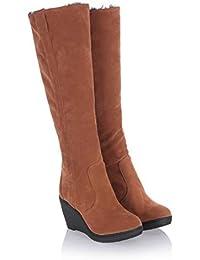 Botas De Nieve para Mujer Calzado Botas Altas Botas Sin Cordones Tejido De AlgodóN Tejido De