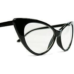 50er Jahre Damen Brille Cat Eye Nerdbrille Klarglas Hornbrille schwarz