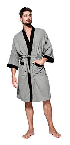 SEMIR Herren Waffelpique Bademantel Morgenmantel Nachtwäsche Kimono Saunamantel mit Taschen und Bindegürtel aus Baumwolle Grau S